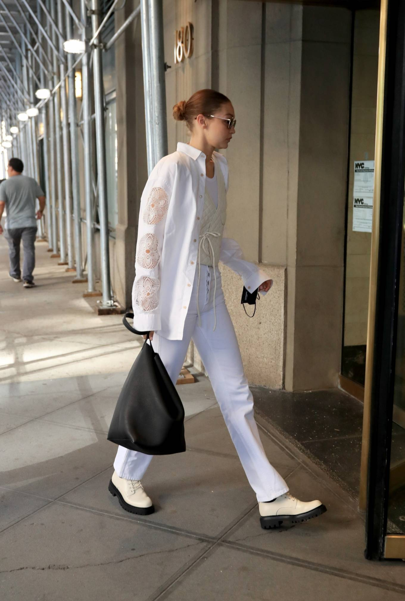 Gigi Hadid 2021 : Gigi Hadid – In an all-white ensemble as she steps out during New York Fashion Week-08