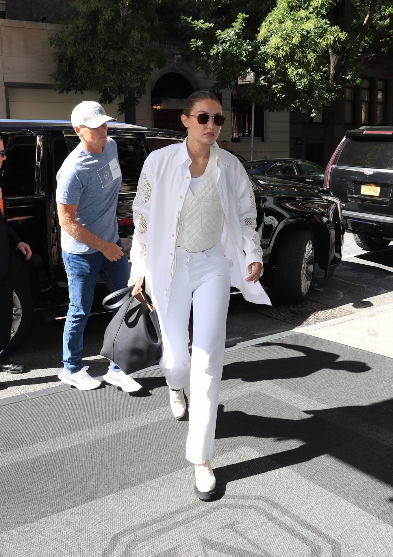 Gigi Hadid 2021 : Gigi Hadid – In an all-white ensemble as she steps out during New York Fashion Week-11