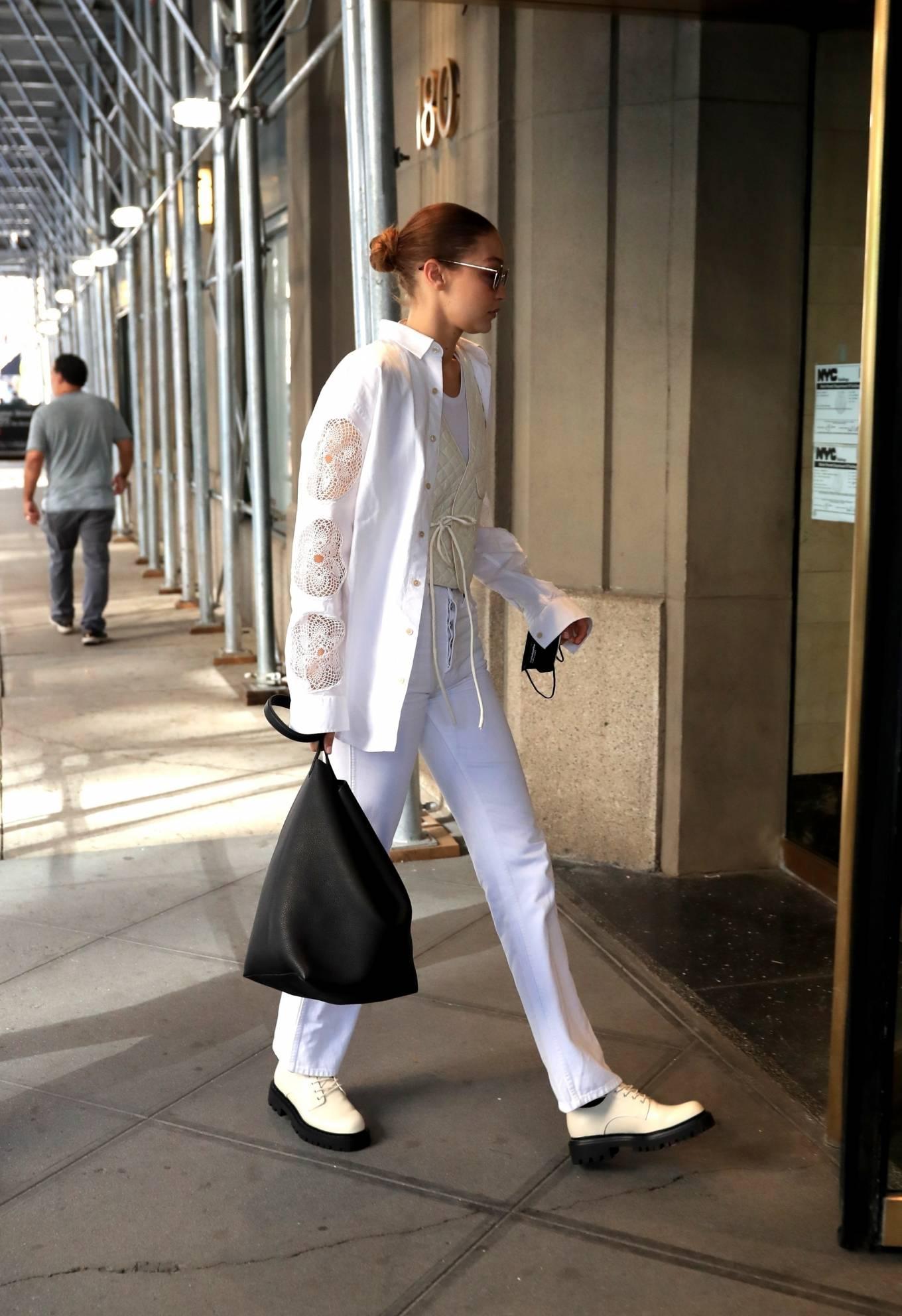 Gigi Hadid 2021 : Gigi Hadid – In an all-white ensemble as she steps out during New York Fashion Week-12