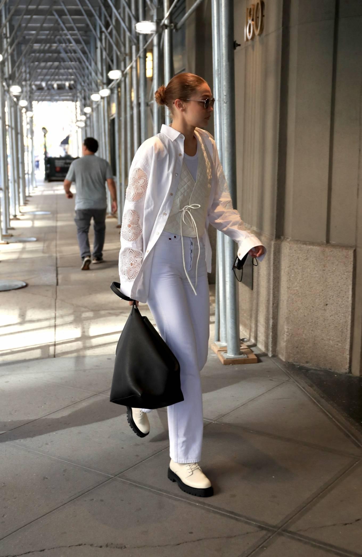 Gigi Hadid 2021 : Gigi Hadid – In an all-white ensemble as she steps out during New York Fashion Week-15
