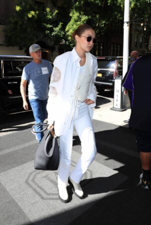 Gigi Hadid - In an all-white ensemble as she steps out in New York