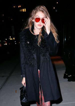 Gigi Hadid in Black Coat out in New York