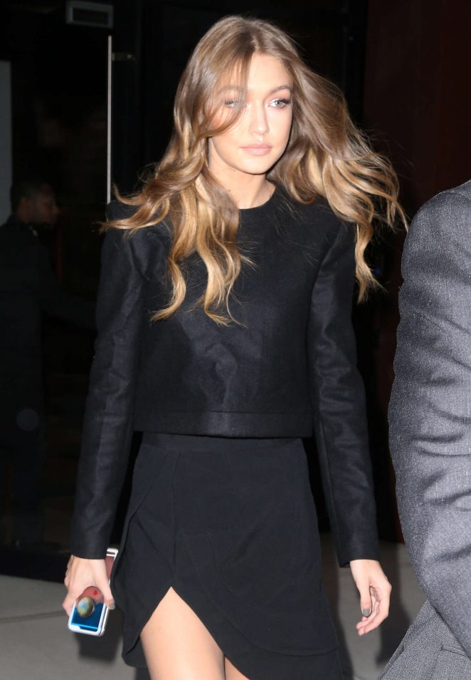 Gigi Hadid in Black Dress out in New York City