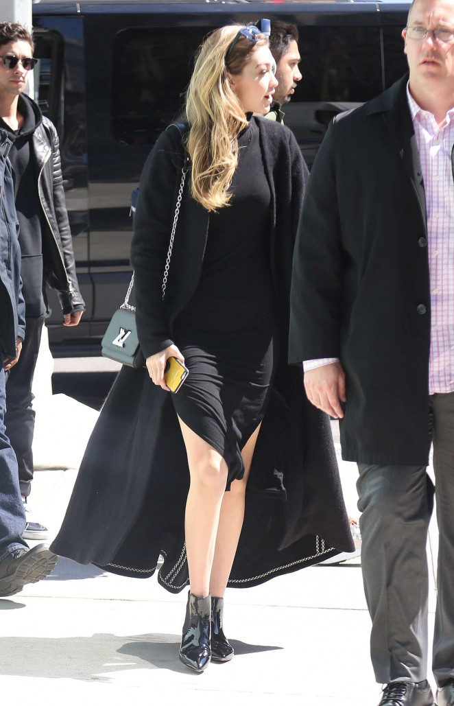 Gigi Hadid in Black Dress Out in New York