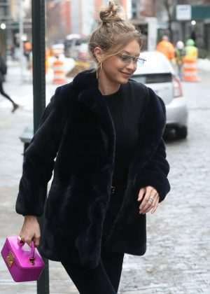 Gigi Hadid in Black Fur Coat out in NYC