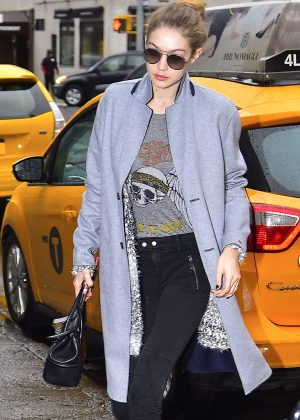 Gigi Hadid in Black Jeans Out in New York
