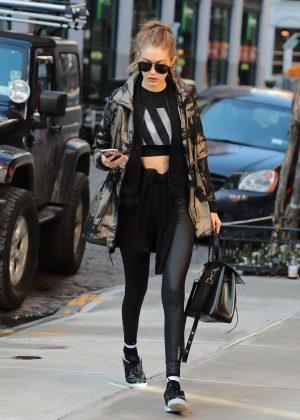 Gigi Hadid in black leggings out in NY
