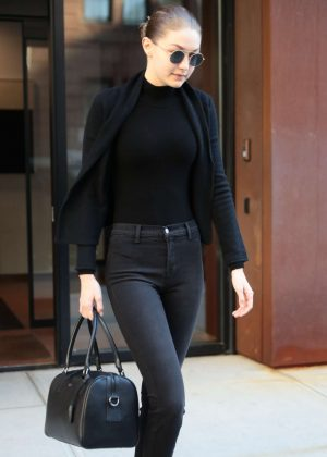 Gigi Hadid in Black Outfit out in NYC