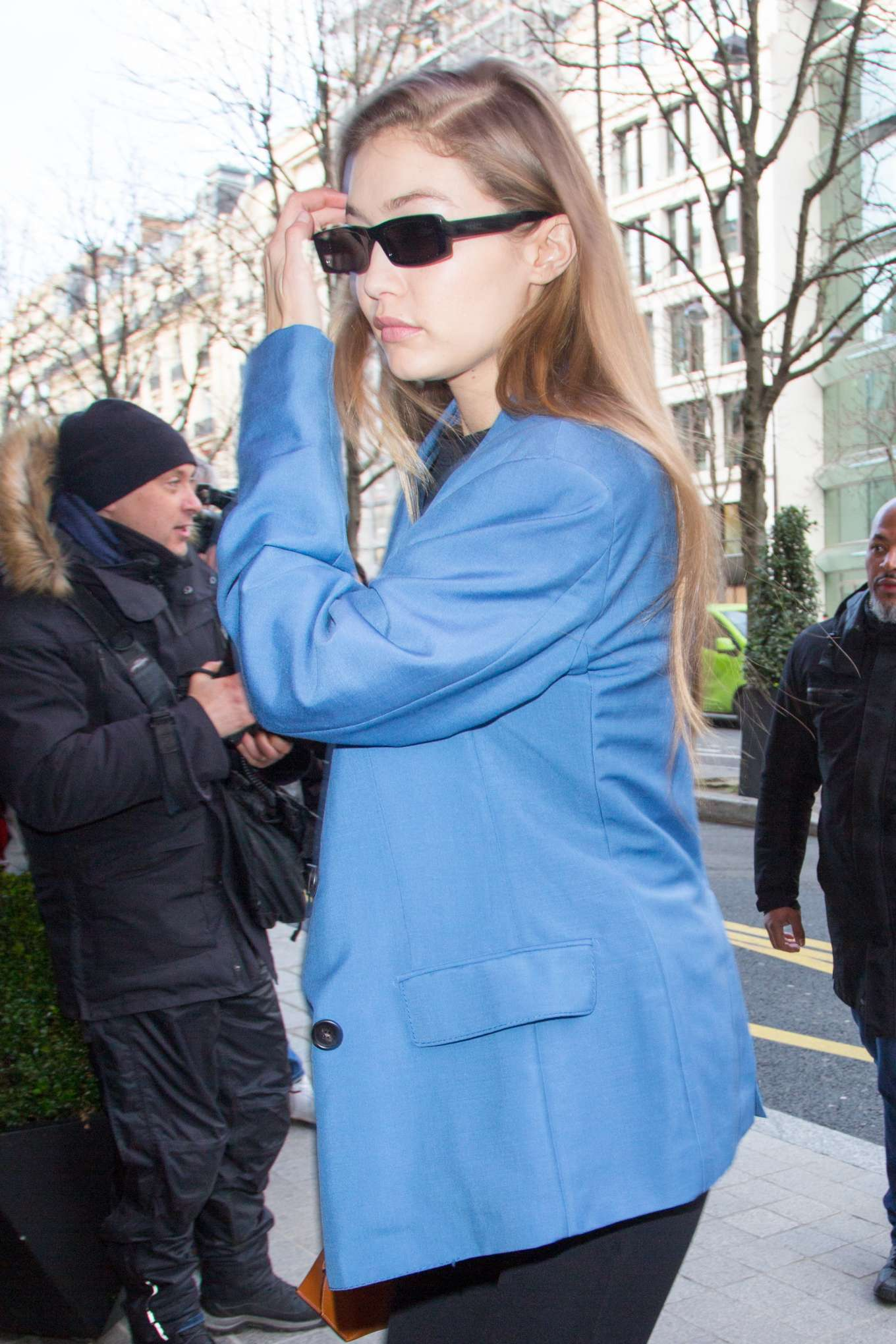 Gigi Hadid in Blue Coat - Out and about in Paris