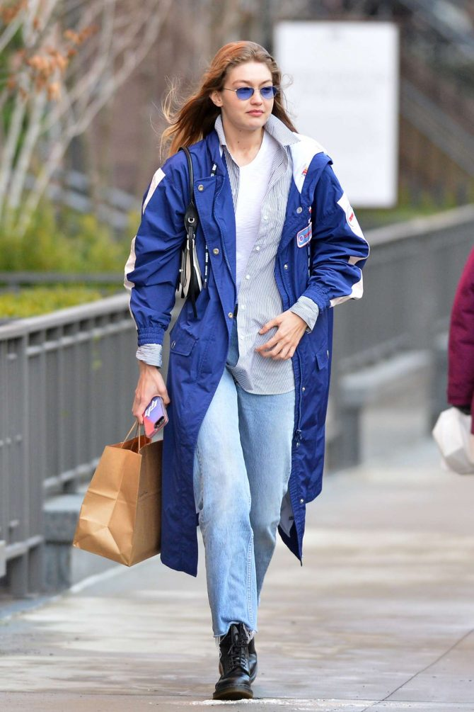 Gigi Hadid in Blue Coat - Out in New York City