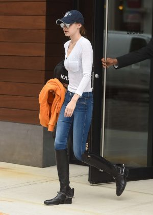 Gigi Hadid in blue jeans and black boots out in NYC