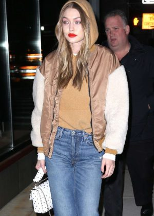 Gigi Hadid in Bomber Jacket - Heading home from a photoshoot in NYC