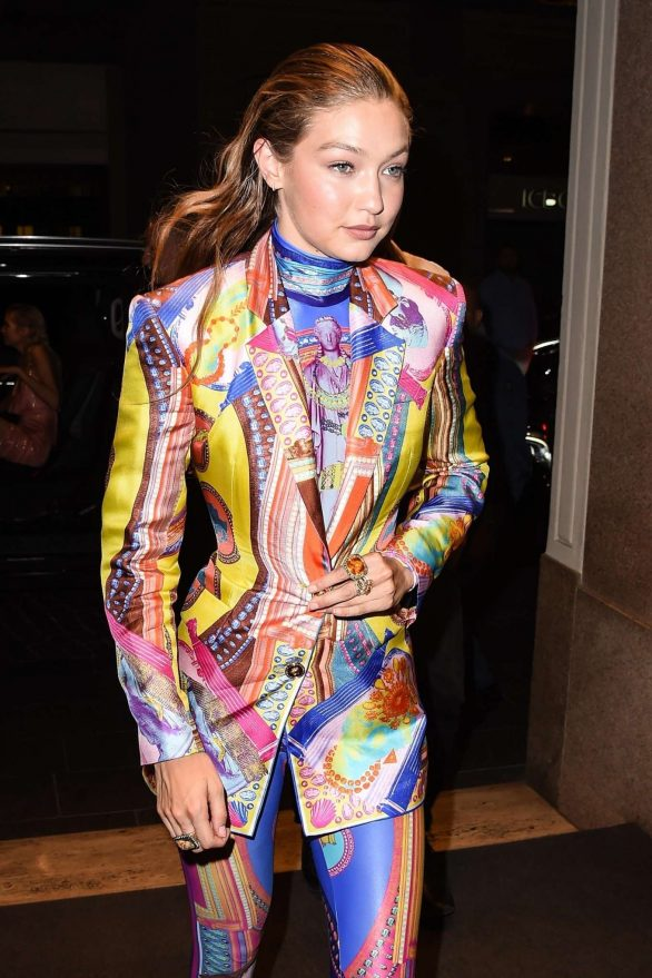Gigi Hadid in Colorful Outfit at Versace Fashion Show After Party in Milan