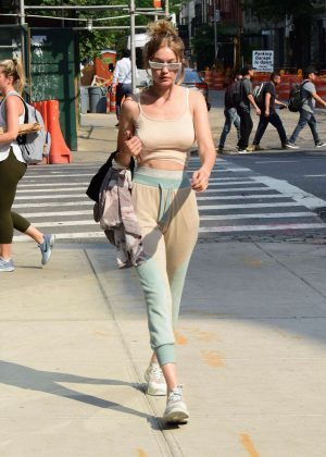 Gigi Hadid in Crop Top out in New York City