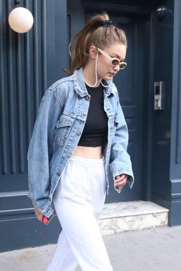 Gigi Hadid in Denim Jacket -02