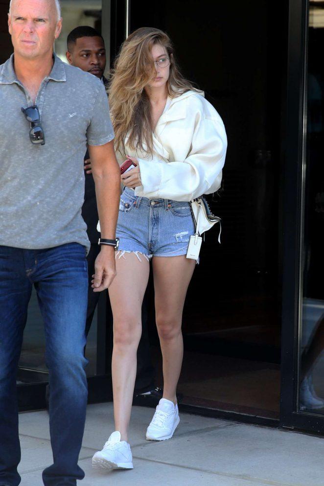 Gigi Hadid in Denim Shorts – Leaves her apartment in New York City
