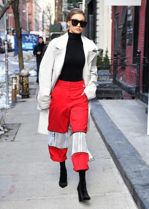 Gigi Hadid in eye-catching pair of red pants in NYC