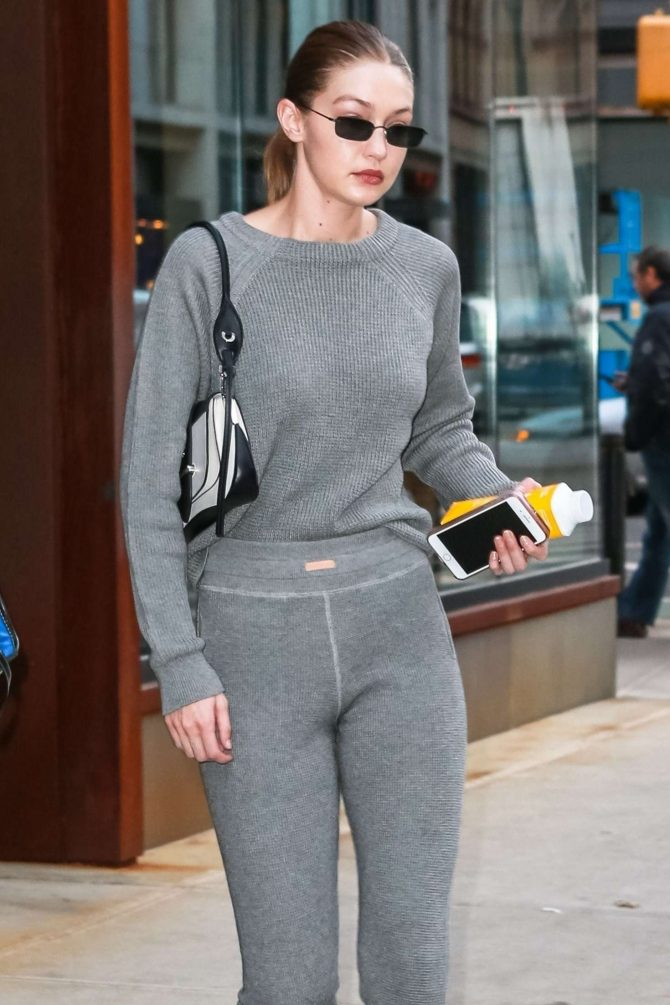 Gigi Hadid in Grey Outfit - Out in NYC