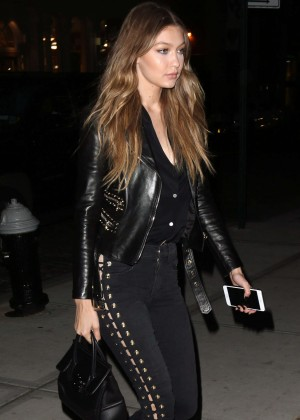 Gigi Hadid in Jeans and Leather Jacket out in NYC