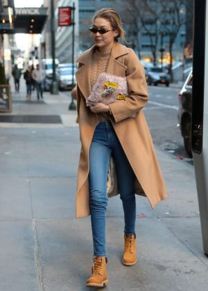 Gigi Hadid in Jeans and Long Coat out in NYC