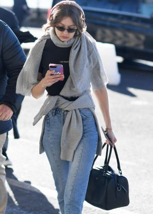 Gigi Hadid in Jeans - Arriving at the airport in Milan