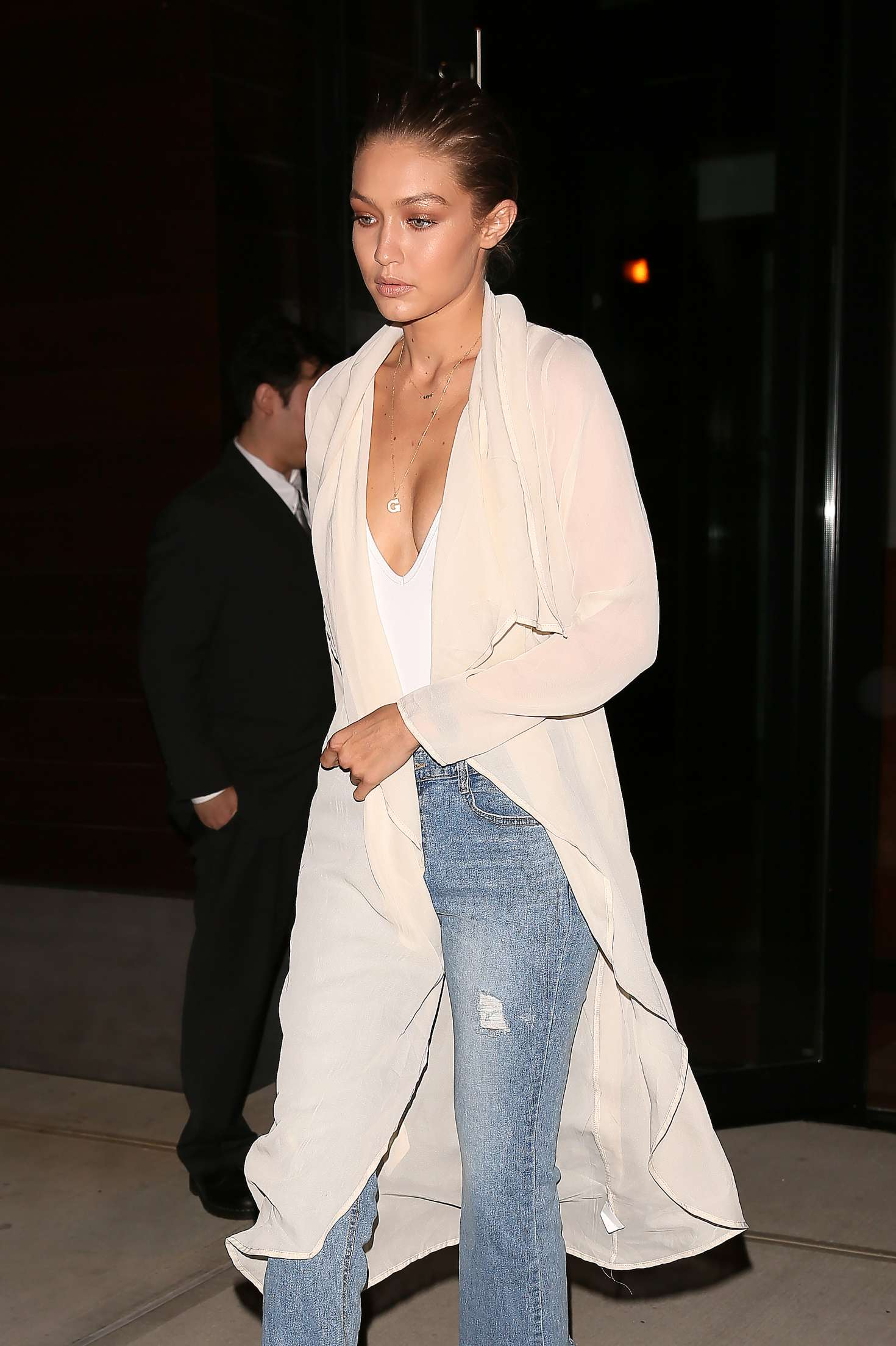 Gigi Hadid in Jeans Leaving her apartment in NYC