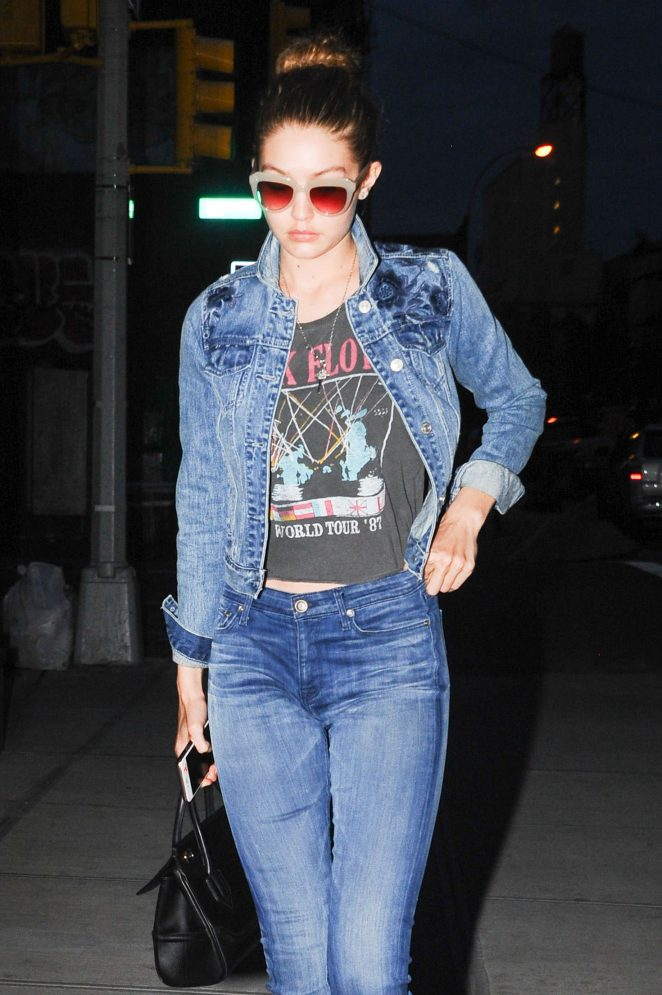 Gigi Hadid in Jeans Nightout in New York