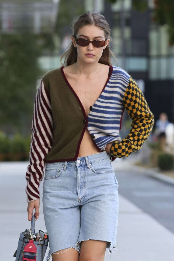 Gigi Hadid in Jeans Shorts - Out in Milan