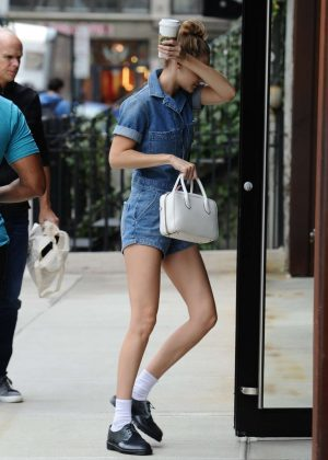 Gigi Hadid in Jeans Shorts - Out in SoHo