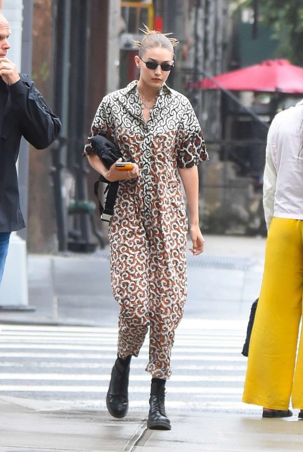 Gigi Hadid in Jumpsuit - Out in New York
