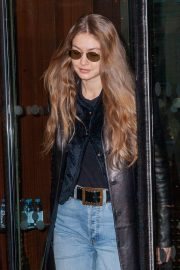 Gigi Hadid in Leather Jacket - Leaving the Royal Monceau hotel in Paris