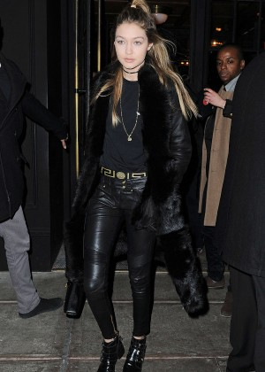 Gigi Hadid in Leather out in NYC