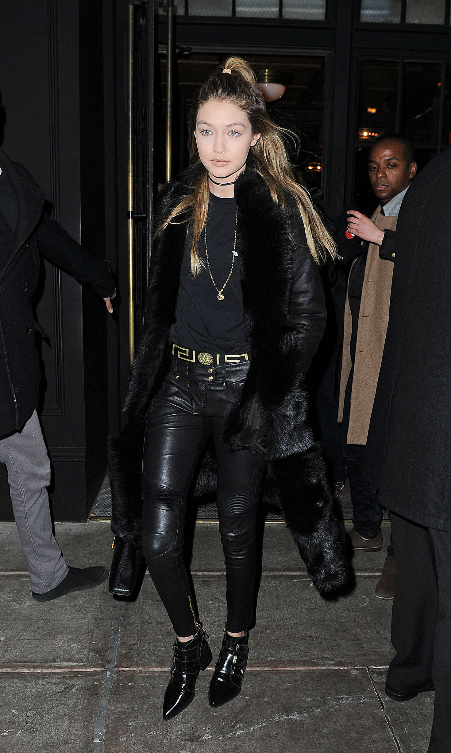 gigi hadid in leather out in nyc � gotceleb
