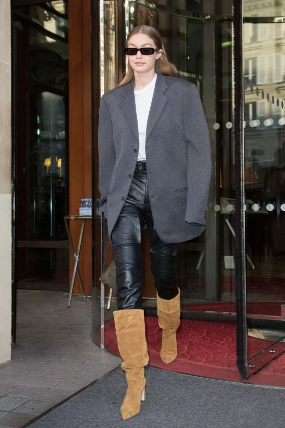 Gigi Hadid in Leather Pants - Leaving the Royal Monceau hotel in Paris