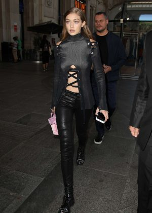 Gigi Hadid in Leather Pants out in Milan