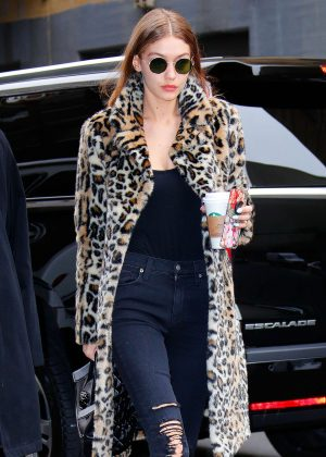 Gigi Hadid in Leopard Print Coat out in New York
