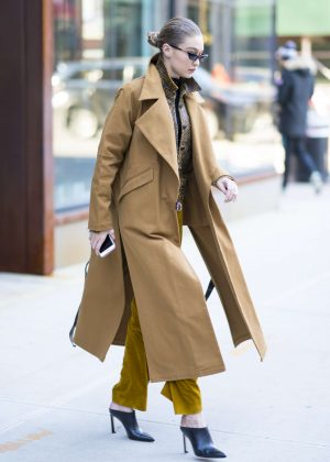 Gigi Hadid in Long Coat out in New York City