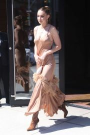 Gigi Hadid in Long Dress - Out in NY