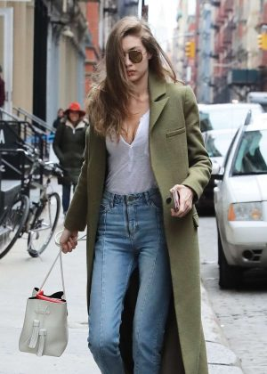 Gigi Hadid in Long Green Coat Out in NY