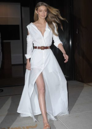Gigi Hadid in Long White Dress - Leaving her apartment in NYC