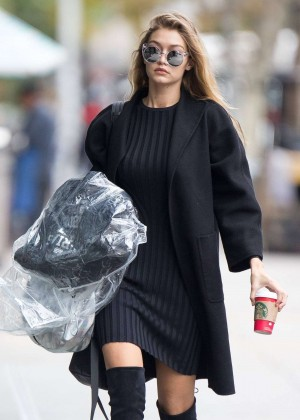 Gigi Hadid in Mini Dress out in NYC