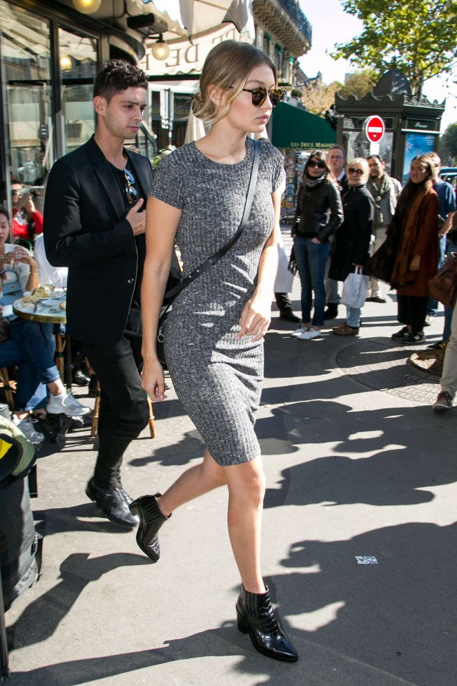 Gigi Hadid in Mini Dress Out in Paris