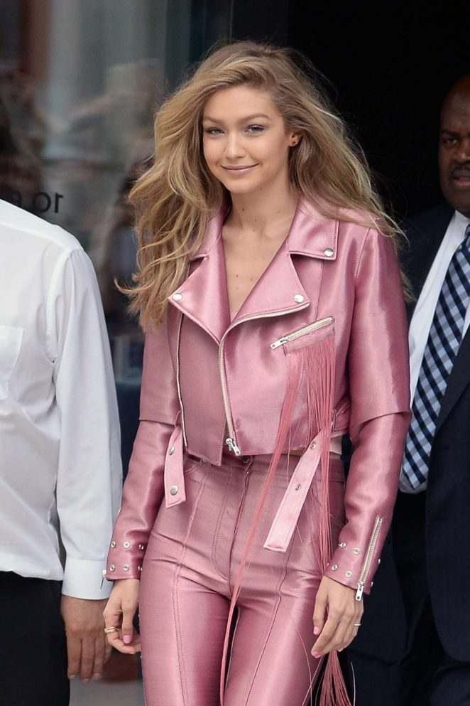 Gigi Hadid in Pink Leaving her apartment in NY