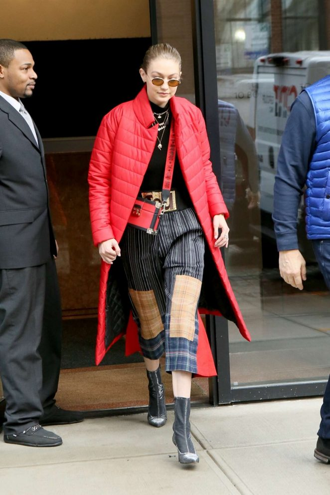 Gigi Hadid in Red Long Jacket -32