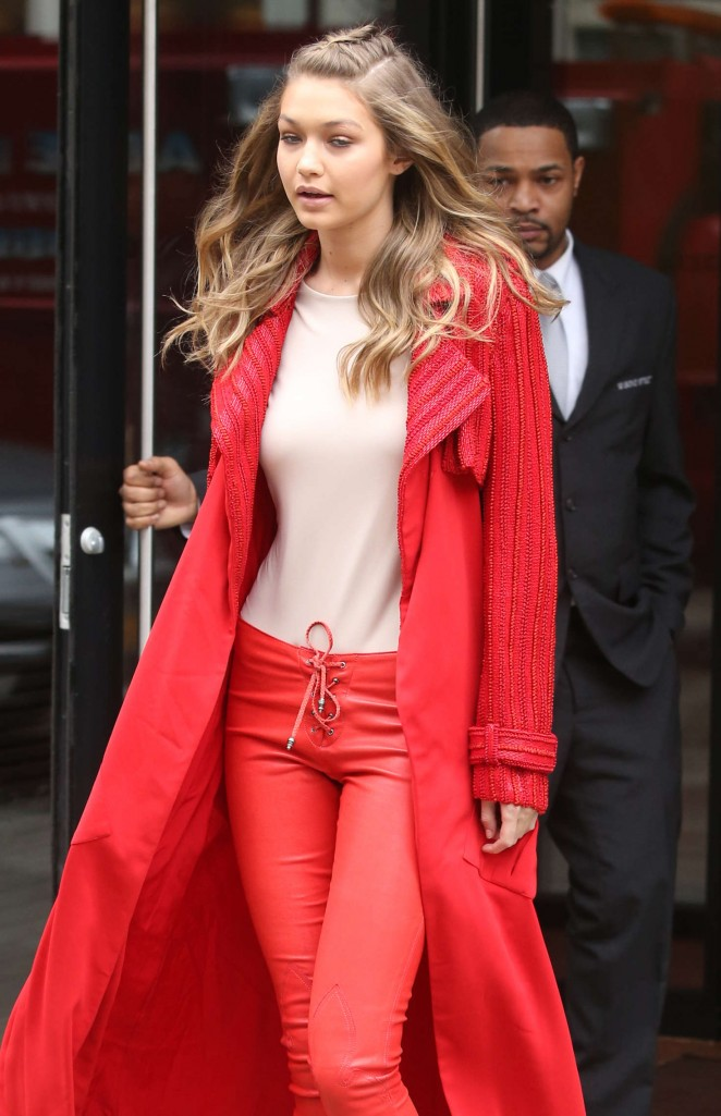 Gigi Hadid in Red out in New York