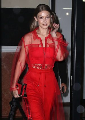 Gigi Hadid in Red Outfit - Out in New York City