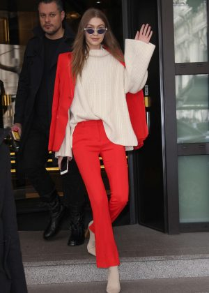Gigi Hadid in Red Suit Out in Milan