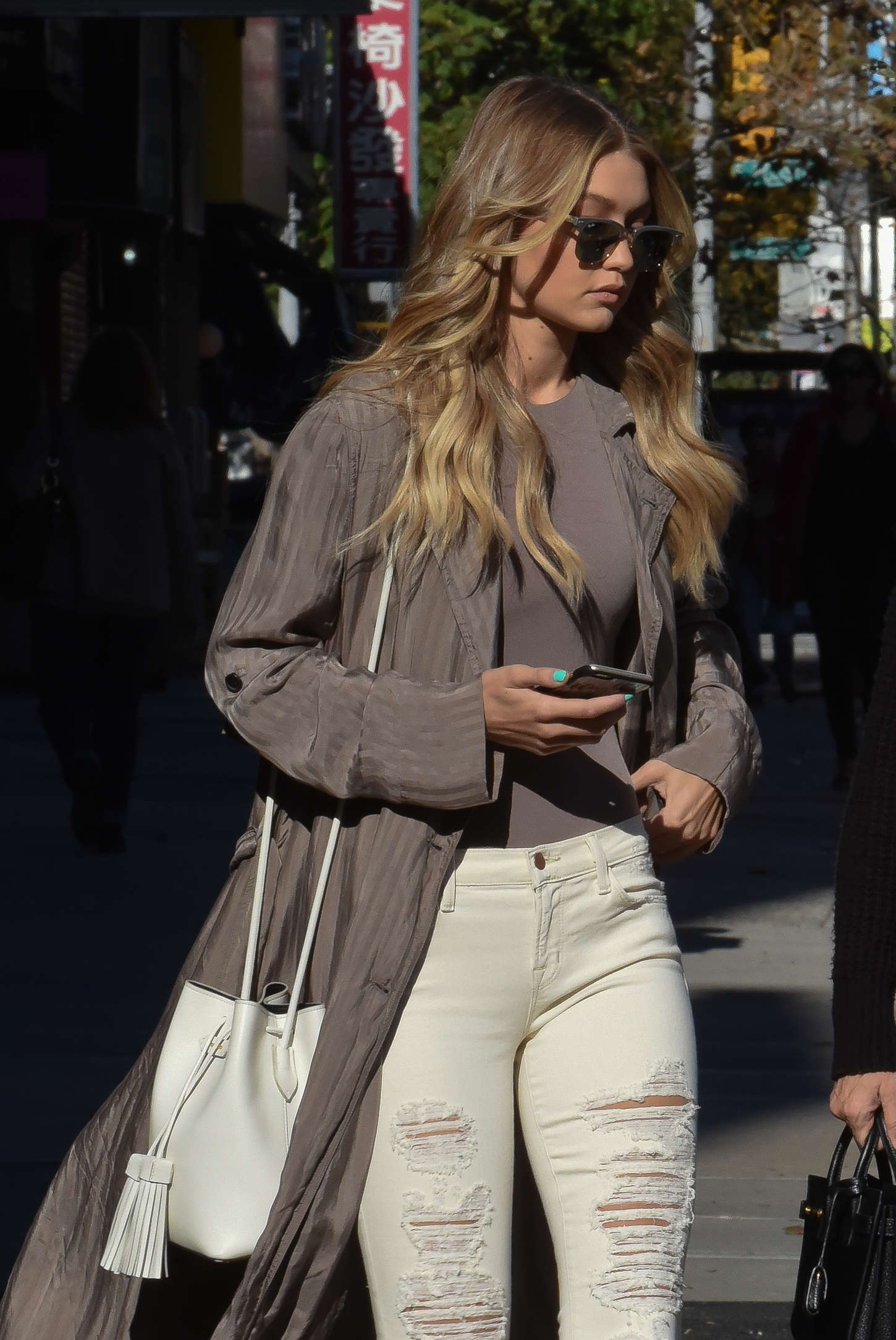 Gigi Hadid in Ripped Jeans out in New York