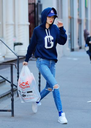 Gigi Hadid in Ripped Jeans out in Lower Manhattan in New York