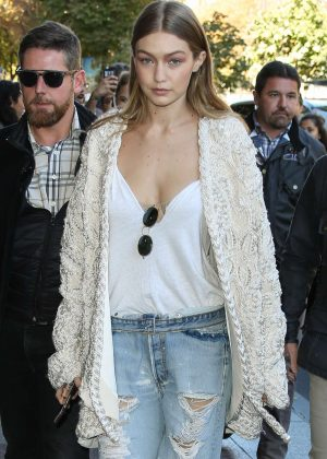 Gigi Hadid in Ripped Jeans out in Paris